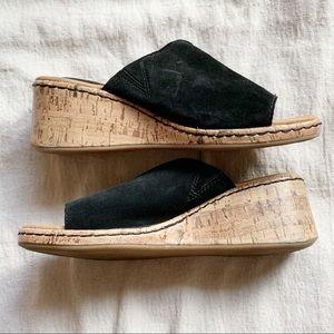 BOC Black Peep Toe Suede Wedge Heel Sandal Size 6